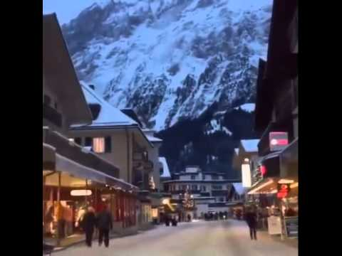 Amazing Evening Mountain View with Snow falls Grindelwald Switzerland ...
