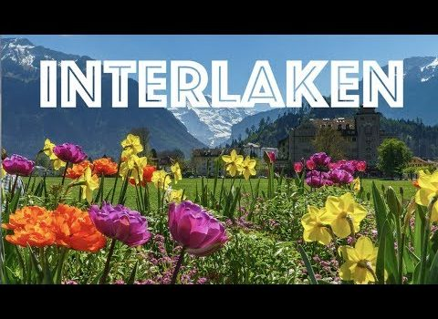 Interlaken Switzerland Train Walking Tour 4K