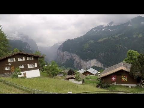 Lauterbrunnen to Wengen Switzerland Train Ride