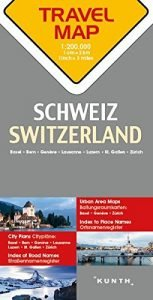 Switzerland Travel Map - 1:200,000 (English and German Edition) - Switzerland Travel Map 1200000 English and German Edition 153x300