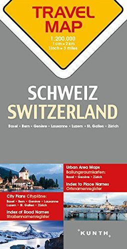 Switzerland Travel Map - 1:200,000 (English and German Edition) - Switzerland Travel Map 1200000 English and German Edition