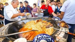 Street Food in Uzbekistan - 1,500 KG. of RICE PLOV (Pilau) + Market To...