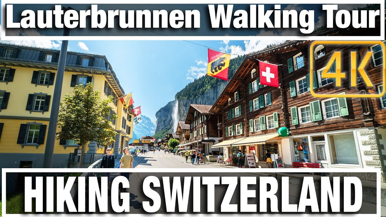 4K City Walks: Walking Lauterbrunnen Switzerland Mid day - Virtual Wal...