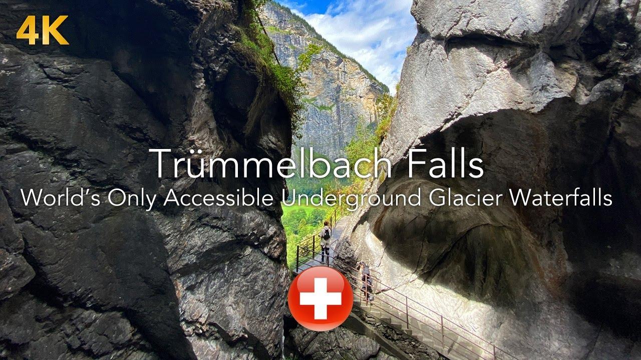 Lauterbrunnen Switzerland 4k Europe's Largest Glacier Water Fall...