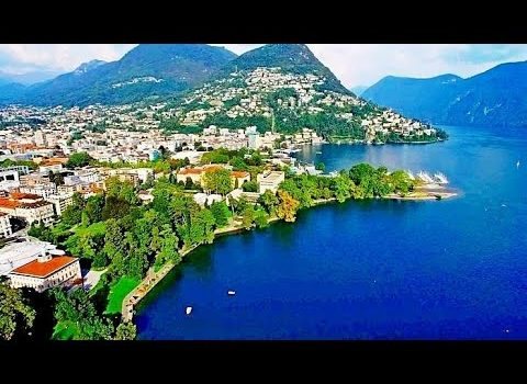 LUGANO (Switzerland) - incredible and amazing view from a drone!
