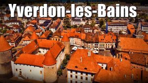 Yverdon-les-Bains, Switzerland - The thermal bath and other tourist at...