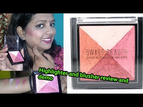 Swiss beauty baked blusher highlighter pallate Review & swatches//...