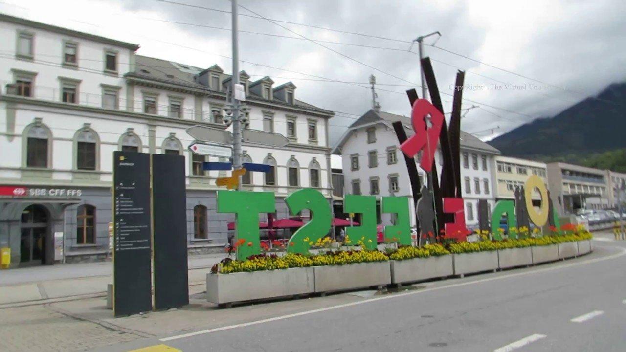 A Walk through Brig in Switzerland to Brig train station in Switzerlan...
