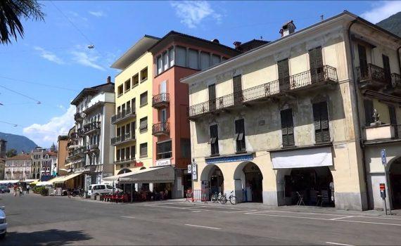 Locarno, popular tourist destination at the shore of Lago Maggiore, Sw...