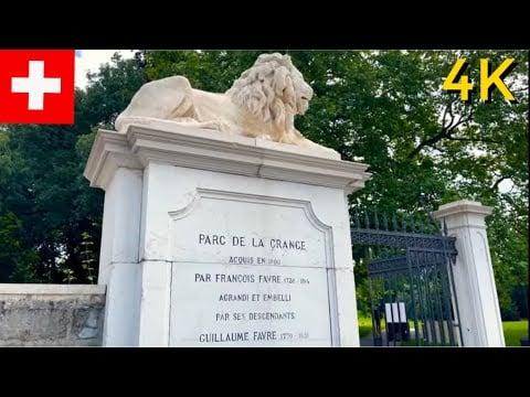 Parc de la Grange   Walking Tour 4K in Geneva, Switzerland
